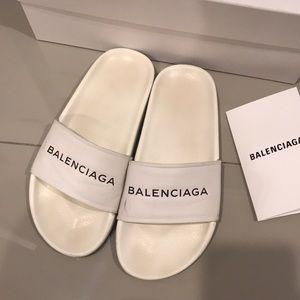 Balenciaga White Leather Slides Sandal